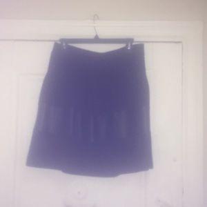 Badgley Mischka Black Skirt w Faux Leather Trim L